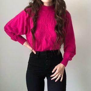 Vintage Crystal Sportswear Mock Neck Sweater L